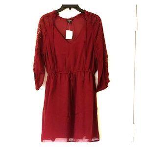 NWT Lucky Brand Lace Sleeve Shirt Dress